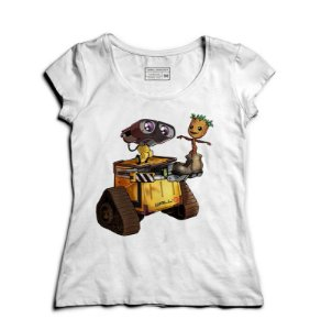 Camiseta Feminina Robo and Tree - Loja Nerd e Geek - Presentes Criativos