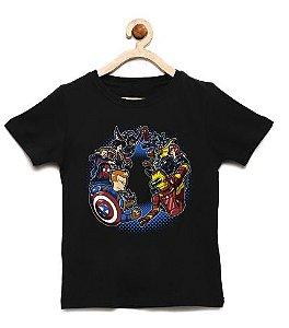 Camiseta Infantil Homem de lata vs Homem do Escudo - Loja Nerd e Geek - Presentes Criativos