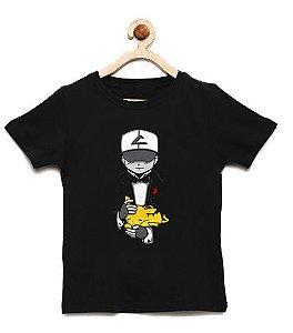 Camiseta Infantil Ashh e Pika - Loja Nerd e Geek - Presentes Criativos