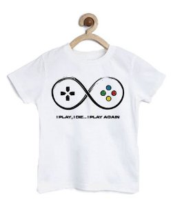 Camiseta Infantil Play Again - Loja Nerd e Geek - Presentes Criativos