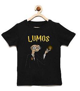 Camiseta Infantil Lumos ET - Loja Nerd e Geek - Presentes Criativos