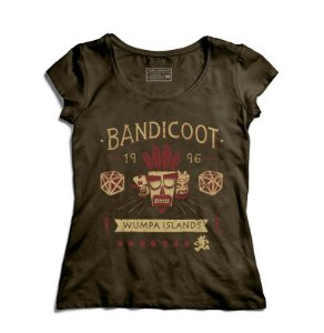 Camiseta Feminina Bandicoot 96- Loja Nerd e Geek - Presentes Criativos