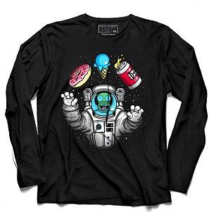 Camiseta Manga Longa Astronauta - Mundo da Lua - Loja Nerd e Geek - Presentes Criativos