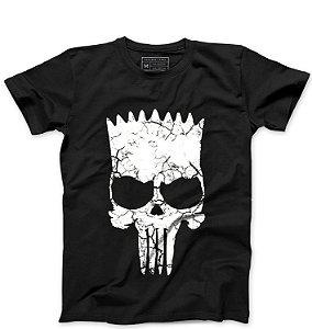 Camiseta Masculina  Skull Bart  - Loja Nerd e Geek - Presentes Criativos