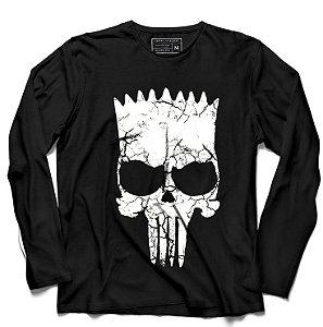 Camiseta Manga Longa Skull Bart - Loja Nerd e Geek - Presentes Criativos