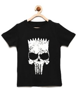 Camiseta Infantil Skull Bart - Loja Nerd e Geek - Presentes Criativos