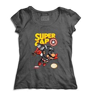 Camiseta Feminina Super Cap - Loja Nerd e Geek - Presentes Criativos