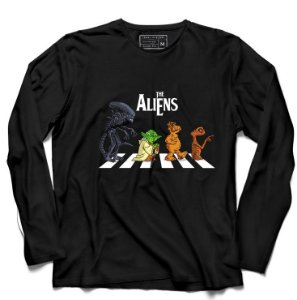 Camiseta Manga Longa Aliens - Loja Nerd e Geek - Presentes Criativos