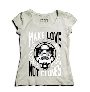 Camiseta Feminina Make Love - Loja Nerd e Geek - Presentes Criativos