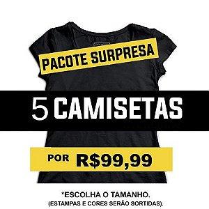 Camiseta Feminina Pacote Kit Surpresa 5 - Loja Nerd e Geek - Presentes Criativos