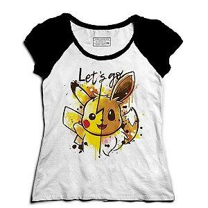 Camiseta Feminina Raglan Pikachu - Loja Nerd e Geek