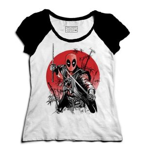 Camiseta Feminina Raglan Samurai Mascara - Loja Nerd e Geek