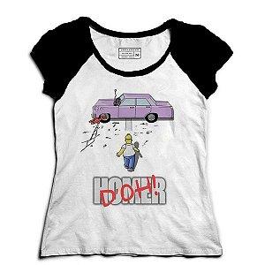 Camiseta Feminina Raglan Homer Simpsons - Loja Nerd e Geek
