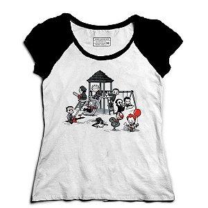 Camiseta Feminina Raglan Parque do Horror - Loja Nerd e Geek
