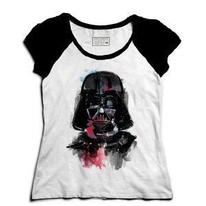 Camiseta Feminina Raglan Color Dark - Loja Nerd e Geek