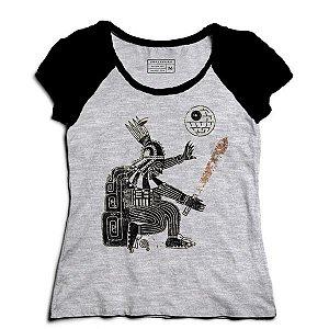 Camiseta Feminina Raglan Mescla Powerful Dark - Loja Nerd e Geek