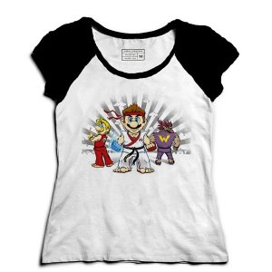 Camiseta Feminina Raglan Plumber Kombat - Loja Nerd e Geek