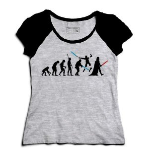 Camiseta Feminina Raglan Space Wars Evolution - Loja Nerd e Geek