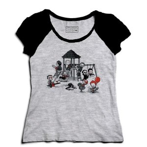 Camiseta Feminina Raglan Mescla Parque do Horror - Loja Nerd e Geek