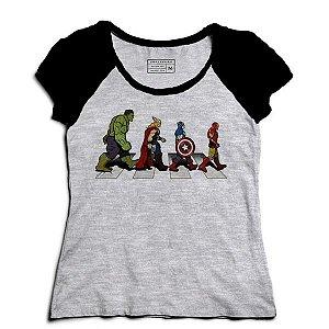 Camiseta Feminina Raglan Mescla The Avengers - Loja Nerd e Geek