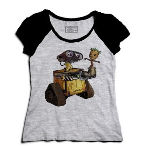 Camiseta Feminina Raglan Mescla Robo and Tree - Loja Nerd e Geek