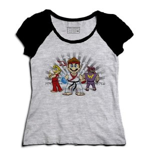 Camiseta Feminina Raglan Mescla Plumber Kombat - Loja Nerd e Geek