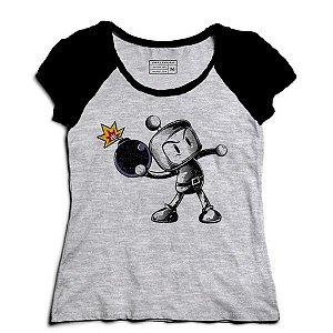 Camiseta Feminina Raglan Mescla Bombardeio - Loja Nerd e Geek
