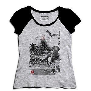 Camiseta Feminina Raglan Mescla Elf -  Entre Mundos - Loja Nerd e Geek