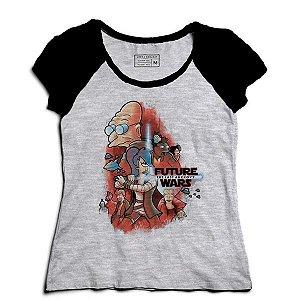 Camiseta Feminina Raglan Mescla Space wars Future - Loja Nerd e Geek