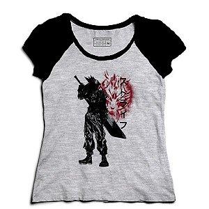 Camiseta Feminina Raglan Mescla Ex Soldado - Loja Nerd e Geek