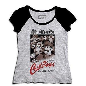 Camiseta Feminina Raglan Mescla Super Plumber e Peach - Loja Nerd e Geek