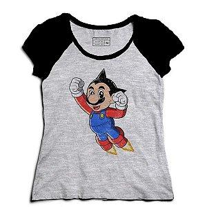 Camiseta Feminina Raglan Mescla Super Plumber Word - Loja Nerd e Geek