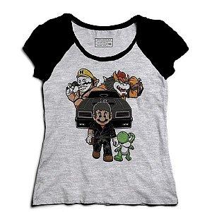 Camiseta Feminina Raglan Super Plumber Kart - Loja Nerd e Geek