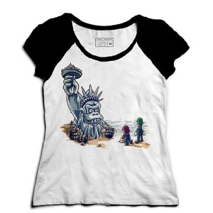 Camiseta Feminina Raglan Monkey American - Loja Nerd e Geek