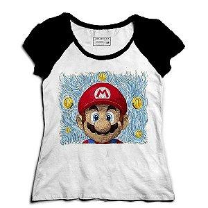Camiseta Feminina Raglan Super Plumber Word - Loja Nerd e Geek