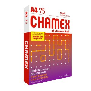 Papel A4 Sulfite Chamex 210mm x 297mm 75g Pacote com 300 folhas