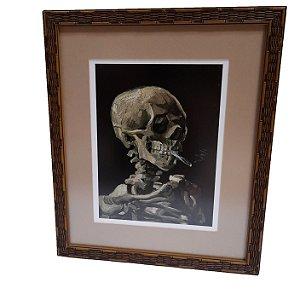 Quadro Gravura Skull Cigarette Van Gogh