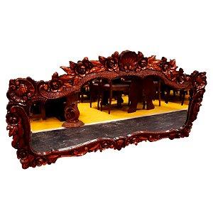 Espelho em Cristal Bisotê em Cerejeira Entalhada pelo Artist