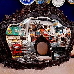Espelho em Cristal Bisote em Cerejeira Entalhada pelo Artist