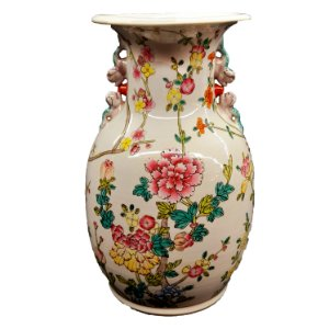 Vaso em Porcelana Pintado a Mão Estilo Companhia das Índias