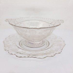 Conjunto de Cristal Francês Saint Louis Floral Anos 40