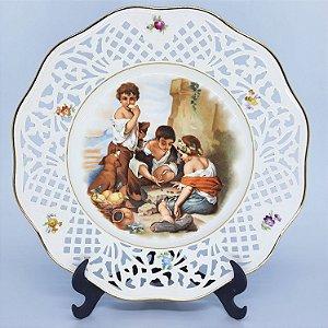 Prato Porcelana Perfurado Alemã Filetado a Ouro Anos 60