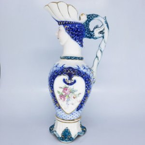 Jarra de Porcelana Anos 40 Filetada a Ouro Azul Cobalto