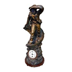 Relógio C/Base em Estatua de Bronze 'Le Sauvateur' Autor 'August Moureau'