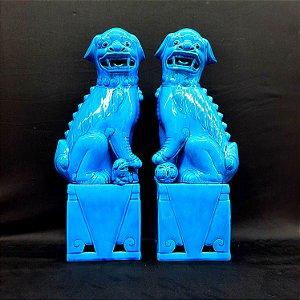 Par de Antigos Leões Guardiões Chineses (Cães de Fó) Azul Turquesa