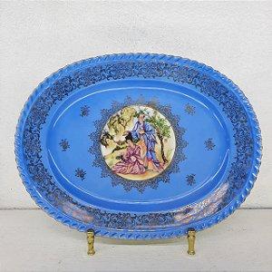 Travessa de Porcelana Estampa Oriental Filetada a Ouro