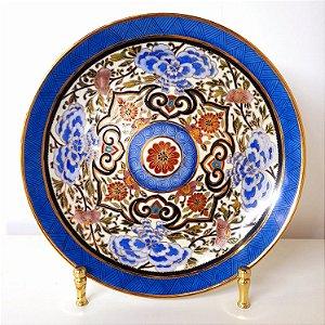 Prato de porcelana pintada a mão filetado a ouro Ingrid