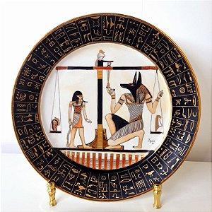 Prato de Porcelana Steatita Pintado a Mão Filetado a Ouro Te