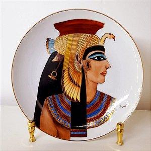 Prato de porcelana Germer pintado a mão filetado a ouro tema