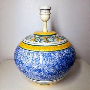 Abajur de Porcelana Portuguesa Pintada a mão cidade Alcobaça